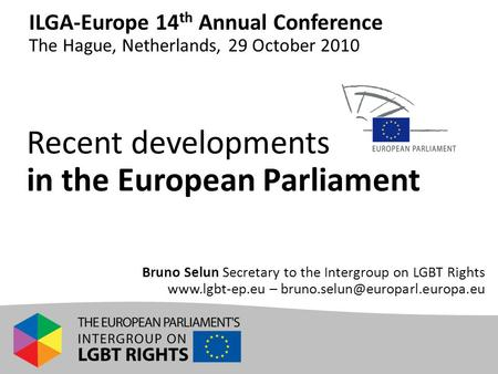 Recent developments in the European Parliament Bruno Selun Secretary to the Intergroup on LGBT Rights  – ILGA-Europe.