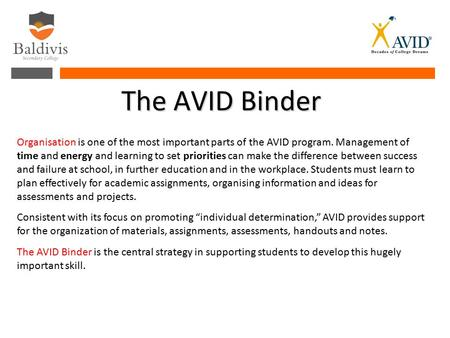 The AVID Binder Organisation is one of the most important parts of the AVID program. Management of time and energy and learning to set priorities can make.