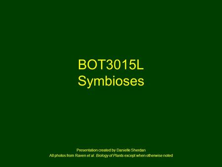 BOT3015L Symbioses Presentation created by Danielle Sherdan All photos from Raven et al. Biology of Plants except when otherwise noted.