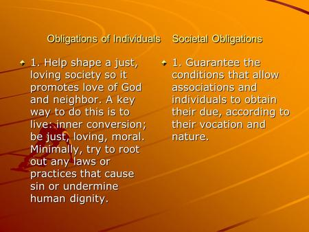 Obligations of Individuals Societal Obligations 1. Help shape a just, loving society so it promotes love of God and neighbor. A key way to do this is to.
