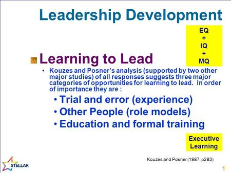 11 Leadership Development Learning to Lead Kouzes and Posner's analysis (supported by two other major studies) of all responses suggests three major categories.