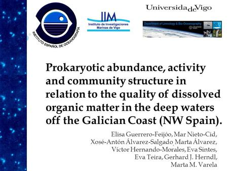 Prokaryotic abundance, activity and community structure in relation to the quality of dissolved organic matter in the deep waters off the Galician Coast.