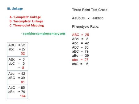 III. Linkage A. 'Complete' Linkage B. 'Incomplete' Linkage C. Three-point Mapping - combine complementary sets Three Point Test Cross AaBbCc x aabbcc Phenotypic.