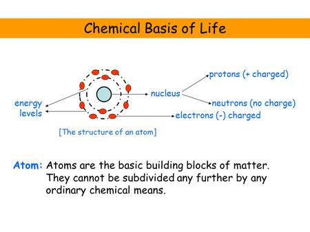 Chemical Basis of Life Atom: nucleus electrons (-) charged neutrons (no charge) protons (+ charged) energy levels [The structure of an atom] Atoms are.