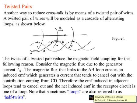 Twisted Pairs Another way to reduce cross-talk is by means of a twisted pair of wires. A twisted pair of wires will be modeled as a cascade of alternating.