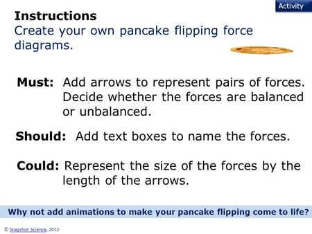 Activity © Snapshot Science, 2012Snapshot Science Instructions Create your own pancake flipping force diagrams. Must: Add arrows to represent pairs of.