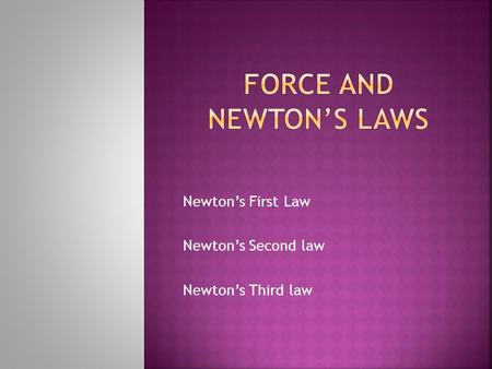 Newton's First Law Newton's Second law Newton's Third law.