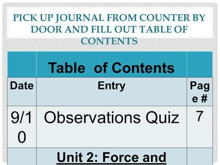 PICK UP JOURNAL FROM COUNTER BY DOOR AND FILL OUT TABLE OF CONTENTS Table of Contents DateEntryPag e # 9/1 0 Observations Quiz 7 Unit 2: Force and Motion.