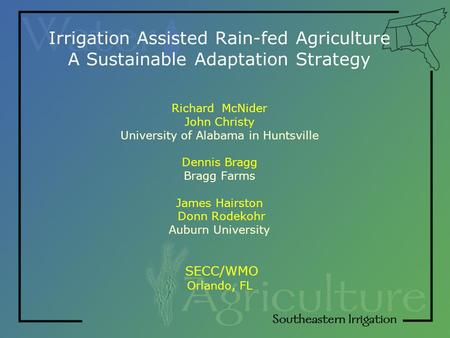 Irrigation Assisted Rain-fed Agriculture A Sustainable Adaptation Strategy Richard McNider John Christy University of Alabama in Huntsville Dennis Bragg.