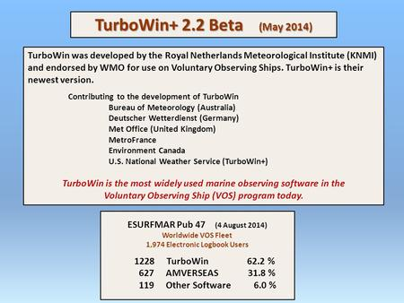 TurboWin+ 2.2 Beta (May 2014) TurboWin was developed by the Royal Netherlands Meteorological Institute (KNMI) and endorsed by WMO for use on Voluntary.