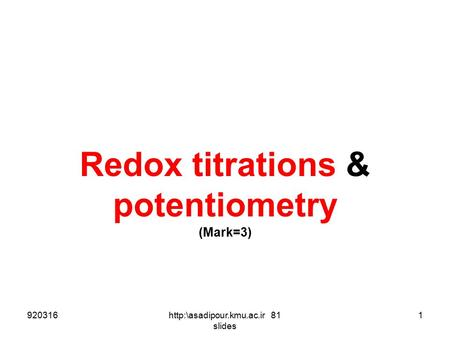 Redox titrations & potentiometry