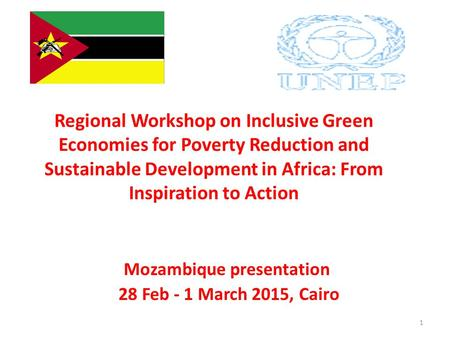 Regional Workshop on Inclusive Green Economies for Poverty Reduction and Sustainable Development in Africa: From Inspiration to Action Mozambique presentation.