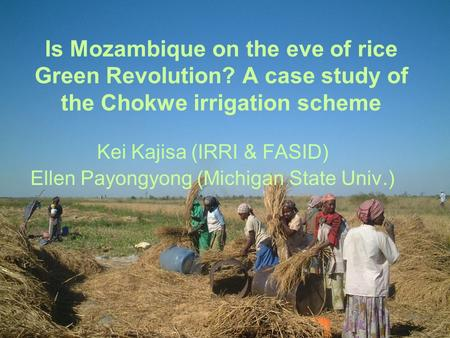 Is Mozambique on the eve of rice Green Revolution? A case study of the Chokwe irrigation scheme Kei Kajisa (IRRI & FASID) Ellen Payongyong (Michigan State.