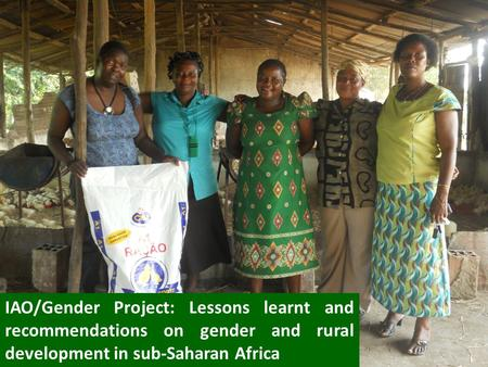 IAO/Gender Project: Lessons learnt and recommendations on gender and rural development in sub-Saharan Africa.