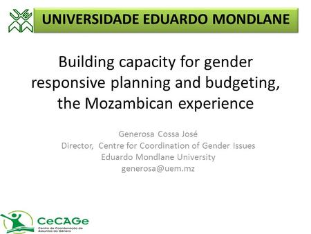 Building capacity for gender responsive planning and budgeting, the Mozambican experience Generosa Cossa José Director, Centre for Coordination of Gender.