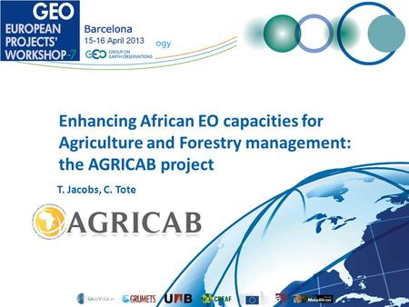 Enhancing African EO capacities for Agriculture and Forestry management: the AGRICAB project T. Jacobs, C. Tote.