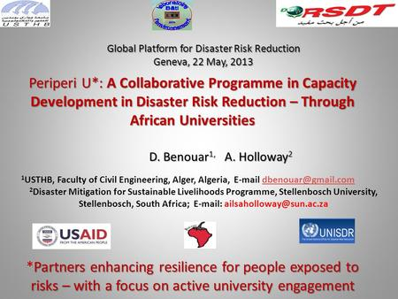 Periperi U*: A Collaborative Programme in Capacity Development in Disaster Risk Reduction – Through African Universities Partners enhancing resilience.