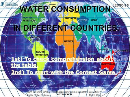 WATER CONSUMPTION IN DIFFERENT COUNTRIES. 1st) To check comprehension about the table. 1st) To check comprehension about the table. 2nd) To start with.