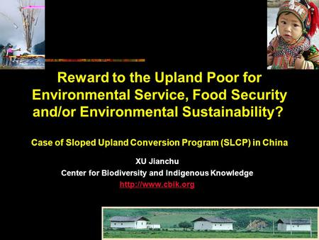 Reward to the Upland Poor for Environmental Service, Food Security and/or Environmental Sustainability? Case of Sloped Upland Conversion Program (SLCP)