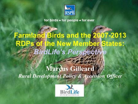 Farmland Birds and the 2007-2013 RDPs of the New Member States: BirdLife's Perspective Marcus Gilleard Rural Development Policy & Accession Officer for.