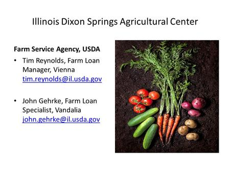 Illinois Dixon Springs Agricultural Center Farm Service Agency, USDA Tim Reynolds, Farm Loan Manager, Vienna