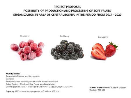 PROJECT PROPOSAL POSSIBILITY OF PRODUCTION AND PROCESSING OF SOFT FRUITS ORGANIZATION IN AREA OF CENTRAL BOSNIA IN THE PERIOD FROM 2014 - 2020 Capacity: