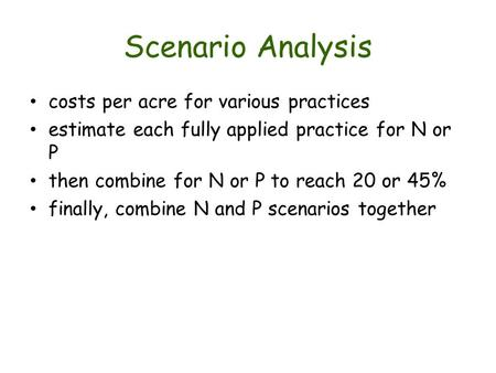 Scenario Analysis costs per acre for various practices estimate each fully applied practice for N or P then combine for N or P to reach 20 or 45% finally,
