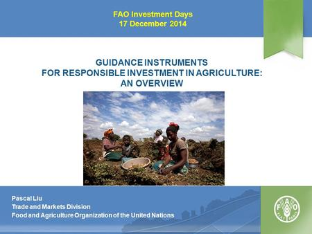 GUIDANCE INSTRUMENTS FOR RESPONSIBLE INVESTMENT IN AGRICULTURE: AN OVERVIEW Pascal Liu Trade and Markets Division Food and Agriculture Organization of.