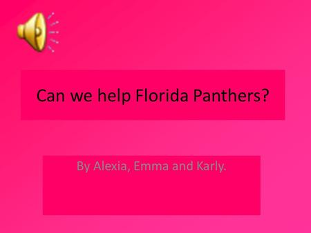 Can we help Florida Panthers? By Alexia, Emma and Karly.