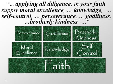 "1 Faith Moral Excellence Knowledge Self Control Perseverance Godliness Brotherly Kindness ""… applying all diligence, in your faith supply moral excellence,"