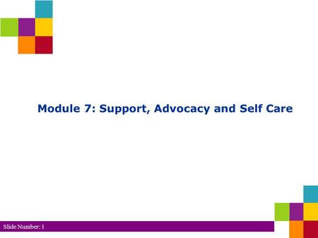 Slide Number: 1 Module 7: Support, Advocacy and Self Care.