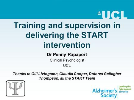 Training and supervision in delivering the START intervention