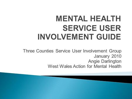 Three Counties Service User Involvement Group January 2010 Angie Darlington West Wales Action for Mental Health.