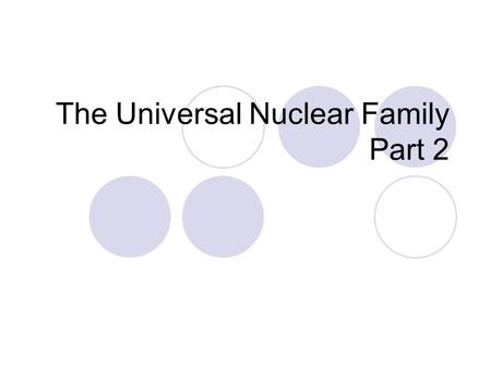 The Universal Nuclear Family Part 2. The Nuclear family is not universal The Nayar community Martifocal families Gay families.