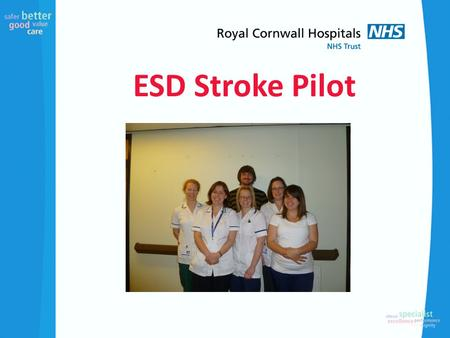ESD Stroke Pilot. Pilot Based on retrospective audit and budget of £75,000. Clinical Leads OT and Physio from RCH Acute Stroke Unit developing and leading.