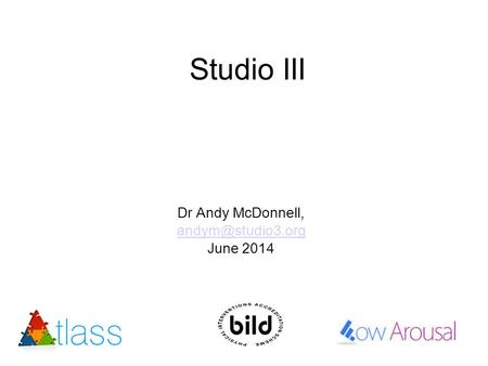 Studio III Dr Andy McDonnell, June 2014.