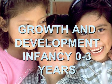 GROWTH AND DEVELOPMENT INFANCY 0-3 YEARS. THROUGHOUT OUR LIVES WE GROW AND DEVELOP. WE CHANGE FROM BEING HELPLESS BABIES TO BEING FULLY INDEPENDENT ADULTS.