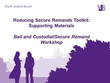 Reducing Secure Remands Toolkit: Supporting Materials Bail and Custodial/Secure Remand Workshop.