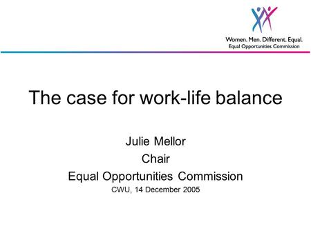 The case for work-life balance Julie Mellor Chair Equal Opportunities Commission CWU, 14 December 2005.