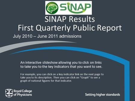SINAP Results First Quarterly Public Report July 2010 – June 2011 admissions An interactive slideshow allowing you to click on links to take you to the.