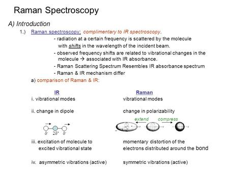 Raman Spectroscopy A) Introduction 1.)Raman spectroscopy: complimentary to IR spectroscopy. - radiation at a certain frequency is scattered by the molecule.