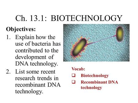 Ch. 13.1: BIOTECHNOLOGY Objectives: