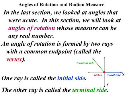 Angles of Rotation and Radian Measure In the last section, we looked at angles that were acute. In this section, we will look at angles of rotation whose.