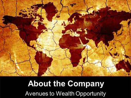 About the Company Avenues to Wealth Opportunity. International Directors.