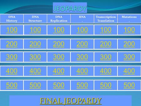 Mutations. Transcription Translation RNA. DNA Replication DNA Structure DNA History 100 200 300 400 500 FINAL JEOPARDY FINAL JEOPARDY.