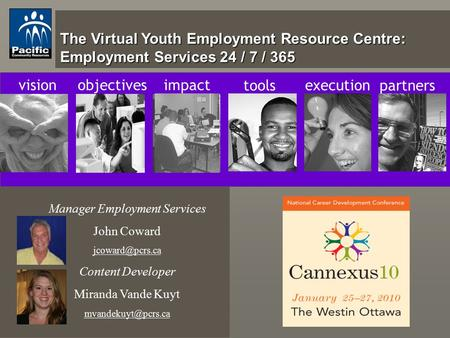 The Virtual Youth Employment Resource Centre: Employment Services 24 / 7 / 365 visionobjectivesimpact tools execution partners Manager Employment Services.