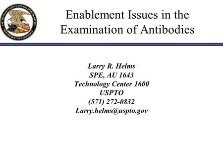 Enablement Issues in the Examination of Antibodies