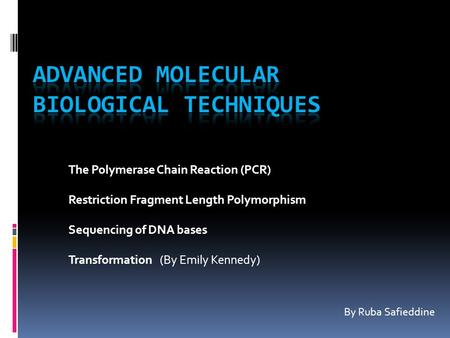 The Polymerase Chain Reaction (PCR) Restriction Fragment Length Polymorphism Sequencing of DNA bases Transformation (By Emily Kennedy) By Ruba Safieddine.