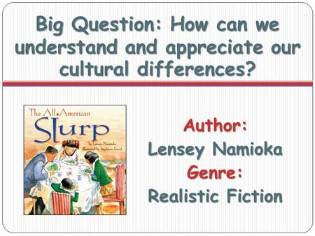 Big Question: How can we understand and appreciate our cultural differences? Author: Lensey Namioka Genre: Realistic Fiction.