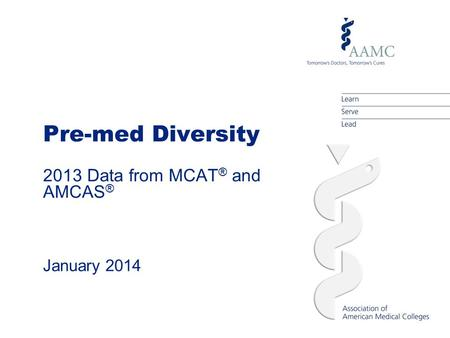 Pre-med Diversity 2013 Data from MCAT ® and AMCAS ® January 2014.